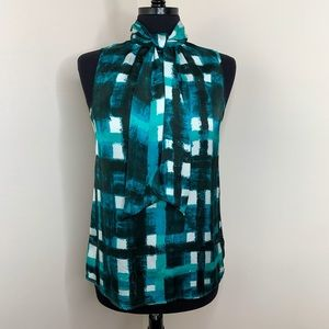 Michael Kors Sleeveless Teal Tie Blouse Small